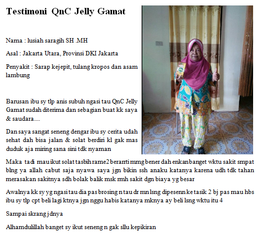Testimoni QnC Jelly Gamat Pengeroposan Tulang